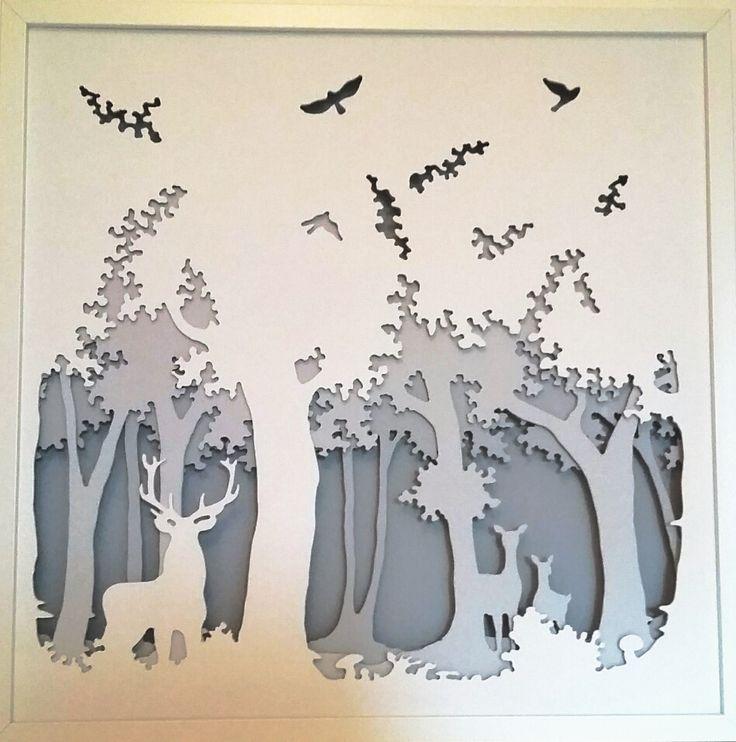 """"""" la forêt enchantée """" est un tableau lumineux en trois dimensions où ombres et lumières nous font pénétrer dans un monde onirique. Dimensions: 50*50 cm. Plus de détails dans ma boutique http://www.alittlemarket.com/boutique/celine_calmettes_creations-2094291.html """" the magical forest """" is a bright picture(board) in three dimensions(size) where shadows and lights make us penetrate into a dreamlike word. Dimensions(Size): 40*50 cms"""