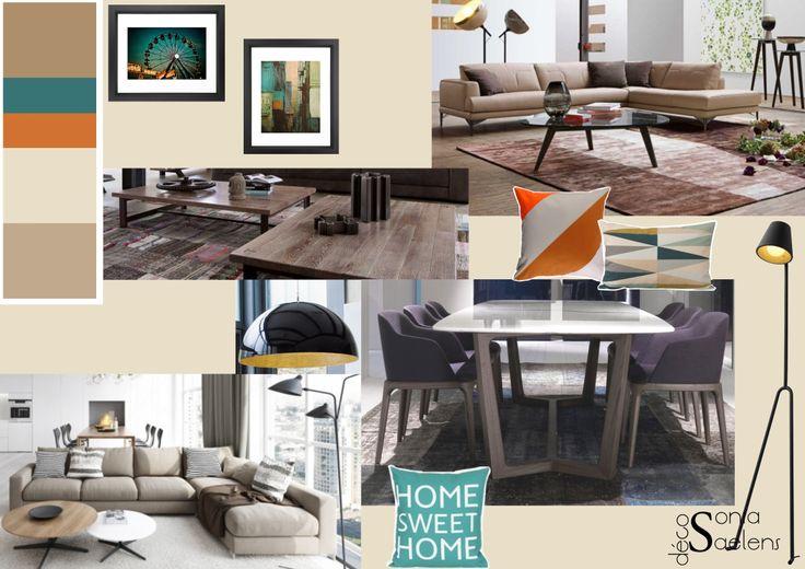 Planche tendance masculine, moderne et chic pour un espace salon