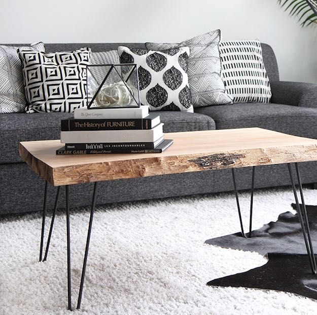 Wood Slab Coffee Table | DIY Coffee Table Ideas For The Budget-Conscious Decorator