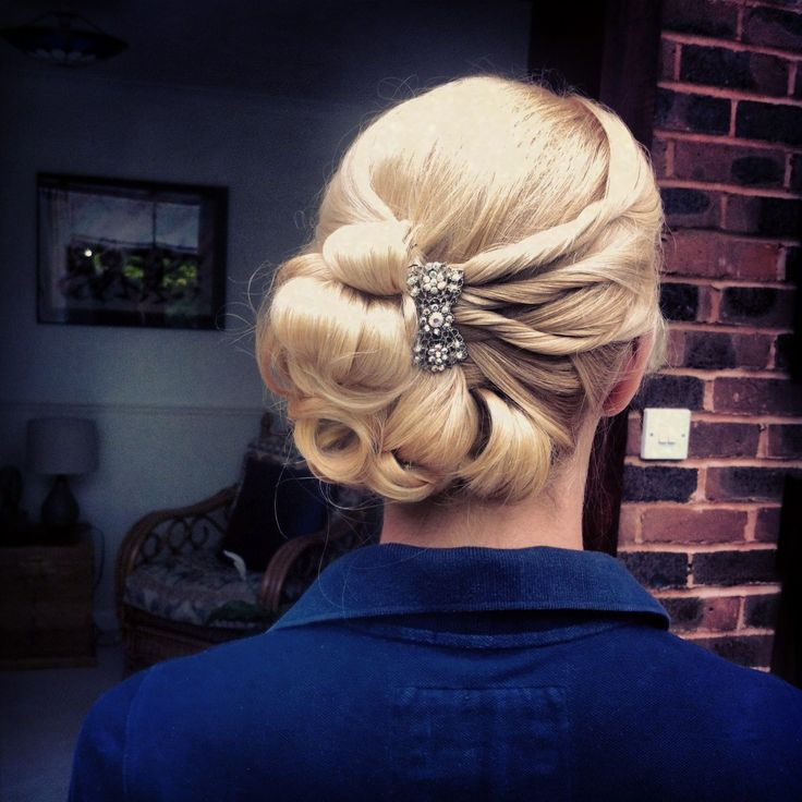 Bridal Up Do - soft  twisted curly side bun - great Vintage look