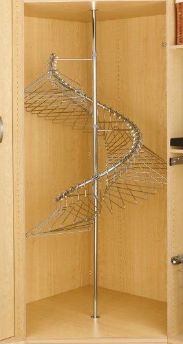 """Hardware Distributors RSSHR.3684 Spiral Clothes Rack Chrome 360 Deg by Hardware Distributors. $199.58. Hangers not included.. Hangs 40 single items of clothing.. 360degrees turning radius.. Adjustable height of 72-1/2 to 84.. Weight capacity 130 lbs when attached to floor (not to cabinet bottom).. The perfect corner closet solutio. 360degrees turning radius. Weight capacity 130 lbs when attached to floor (not to cabinet bottom). Adjustable height of 72-1/2"""" to 84"""". Hangs 40..."""