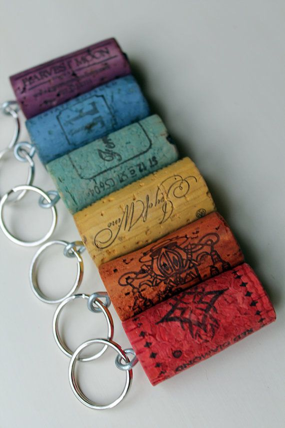 Rainbow Wine Corks Cork Keychains multicolored by TheWoodenBee (Could these be done with Kool-Aid packets?)