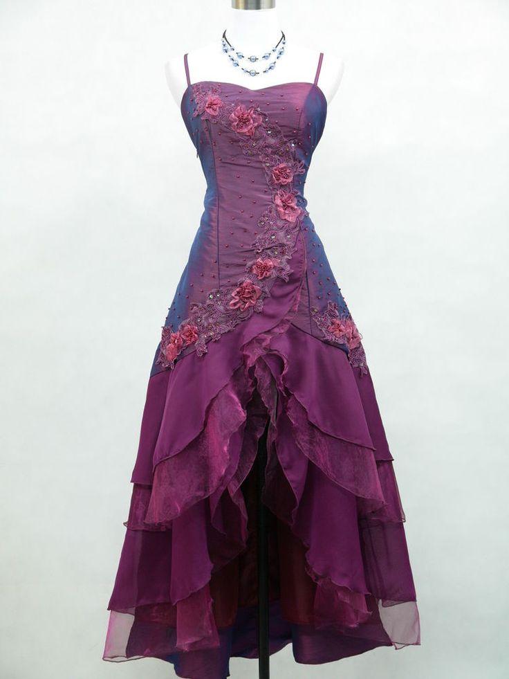 Cherlone Satin Dark Purple Prom Lace Bridesmaids Ball Wedding/Evening Gown Dress