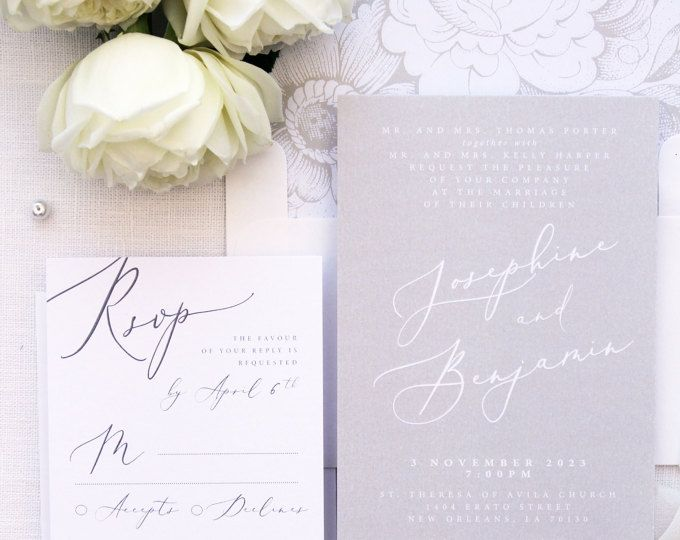 Jennifer Champagne Wedding Invitation Sets, Calligraphy Wedding Invitations, Printable or Printed Invitation Sets, Ivory, Cream Invitations