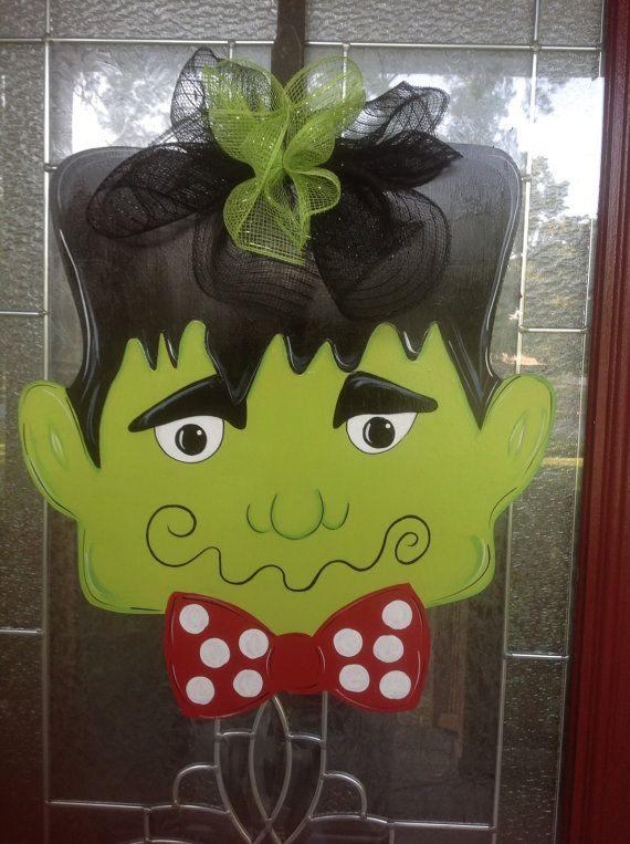 Frankenstein Halloween door hanging by samthecrafter on Etsy, $37.00