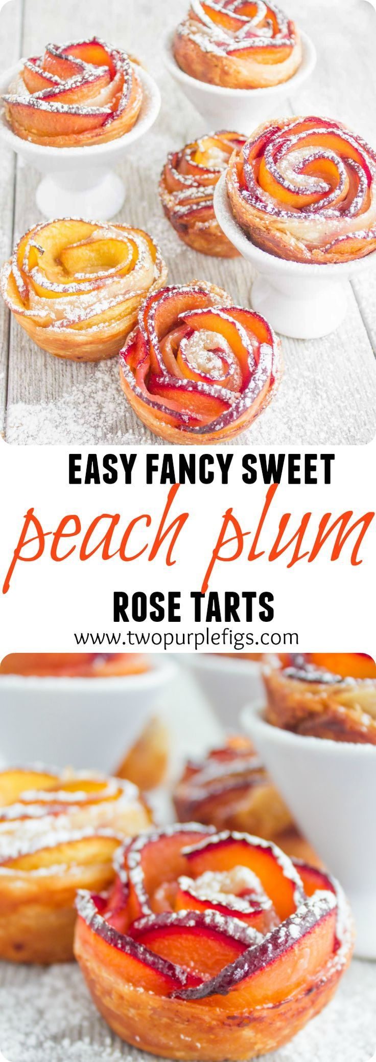 Peach Plum Rose Tarts. They look like they came from a fancy bakery while in fact they are SHAMEFULLY easy to make at home! Check the recipe with step by step photos, tricks and tips to make this 5 star crowd pleaser dessert! www.twopurplefigs.com