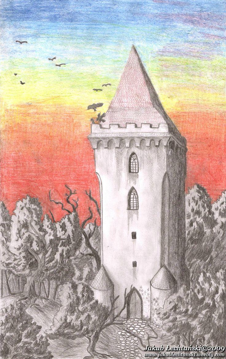 """Rysunek """"Kasztanowa Wieża / Czarnoksiężnik"""" One of my first drawings - 2009. The Tower of Wizard."""