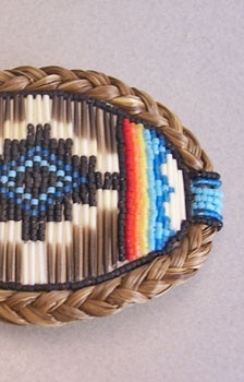 Beaded & Quilled Barrette with Sweetgrass - Blue, Red & Gray by Hilde Barnes (Mohawk) - SOLD