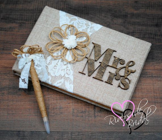 Hey, I found this really awesome Etsy listing at https://www.etsy.com/listing/268069324/rustic-guest-book-burlap-lace-guest-book