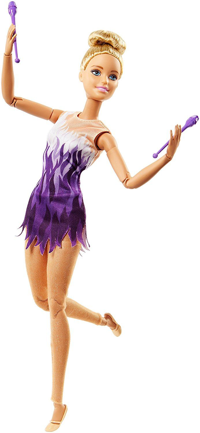 Great Gift for Ages 3 Years Old /& Up 2 Batons /& Ribbon Accessory 12-In//30.40-cm Barbie Rhythmic Gymnast Brunette Doll with Colorful Metallic Leotard