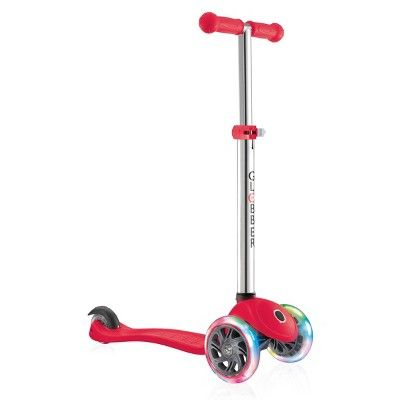 Globber Evo 4-in-1 Convertible Light Up 3 Wheel Scooter - Red