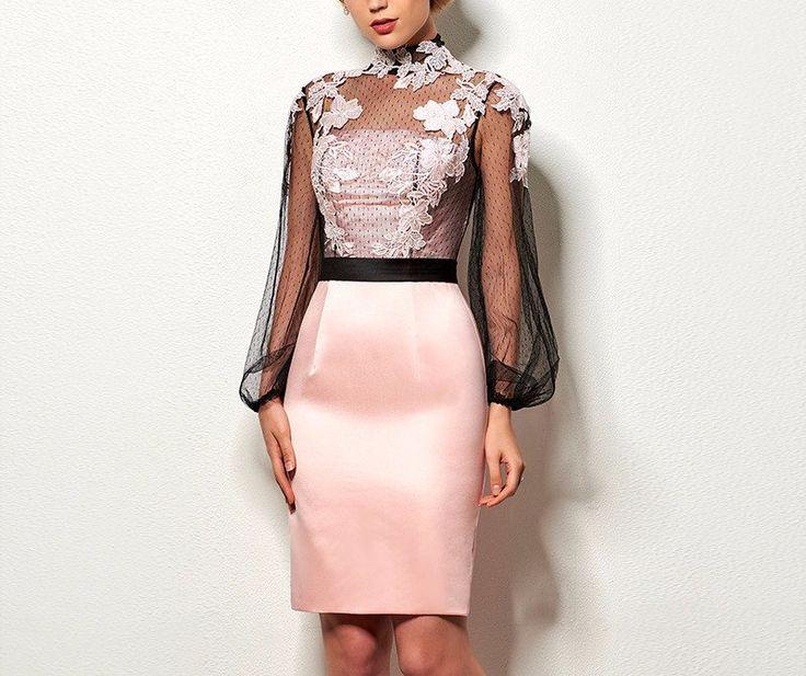 Satin Applique Cocktail Dress poshpizazz.com