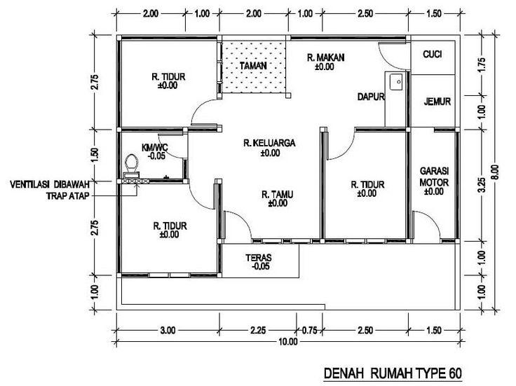 Hasil gambar untuk denah rumah type 60 | Denah rumah ...