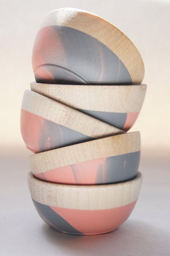 Pink and Grey Swirl wooden bowl set by Wind & Willow Home