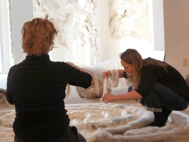 Claudy Jongstra installing a wool and silk labyrinth at the Museum of Outdoor Arts. On display April 13-July 13, 2013. moaonline.org