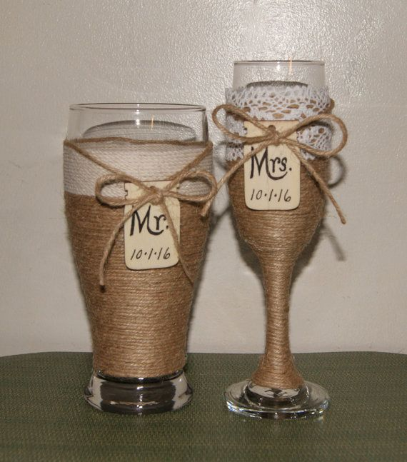 Wedding Champagne Glasses / Woodland by CarolesWeddingWhimsy, This Rustic Wedding Toasting Glasses has Mr and Mrs AND the date written on them. They are the perfect Country Wedding Glasses.  You can find them here https://www.etsy.com/listing/238625748/wedding-champagne-glasses-woodland