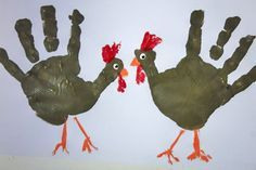 turkey handprints    so cute!  my kids did this when they were little & I did it last year with my grandchildren!  Only difference is, I did it on cardboard, cut them out, and glued them to a magnet &/or clothespin!  They are still on my fridge & I'm thinking of doing it again this year!  :)