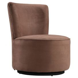 """Add a touch of midcentury-chic style to your den or living room decor with this swiveling accent chair, showcasing a wood frame and brown upholstery.   Product: ChairConstruction Material: Microfiber and woodColor: BrownFeatures: Armelss design is a space-saverSwivel seatDimensions: 32"""" H x 28"""" DiameterNote: Assembly requiredCleaning and Care: Use professional cleaning materials and a clean cloth"""