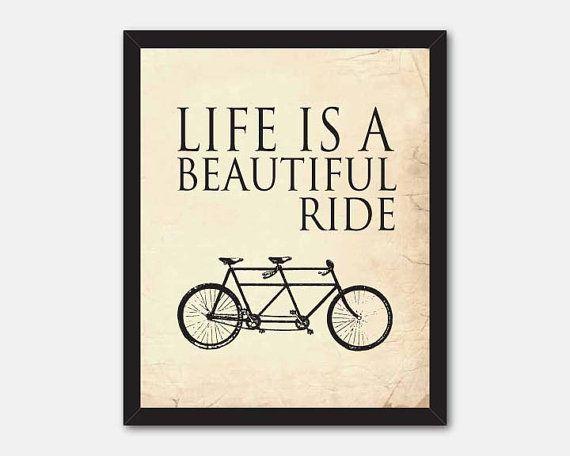 Typography Wall Art - 8 x 10 print  - Life is a beautiful ride - Room decor - tandem bike - Inspirational art - vintage chalkboard distress