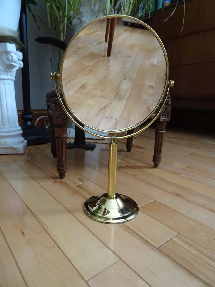63 best vintage home decor images on pinterest bar cart for Gold stand up mirror