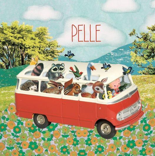 Geboortekaartje Pelle- Wat een gezelligheid in dit busje! Vier de geboorte van jouw kindje met dit vrolijke retro geboortekaartje van Petit Konijn