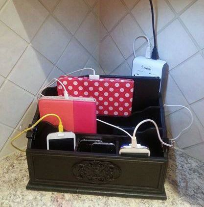DIY charger station using mail sorter {featured on Home Storage Solutions 101}
