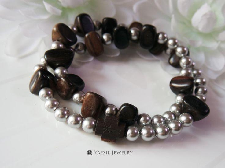 Men's Wooden Rosary Bracelet, Wood and Light Grey Pearl Rosary, Double Strand Stretch Bracelet, Car Rosary, Single Decade Rosary by YaesilJewelry on Etsy
