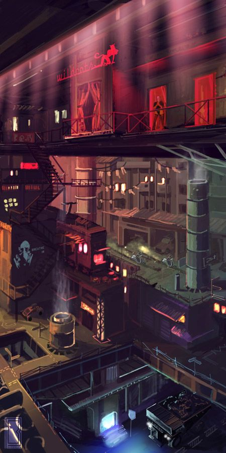 1/2 Page speed painting produced for Savage Mojo A city of 4 quarters. This is Sector 1 where 200 story tower block sit side by side over 4 vertical districts. District 3 the industrial area, ... #Cyberpunk