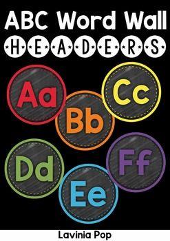Chalkboard Alphabet Word Wall Headers  Chalkboard Word Wall Headers available with a chalkboard or white background.