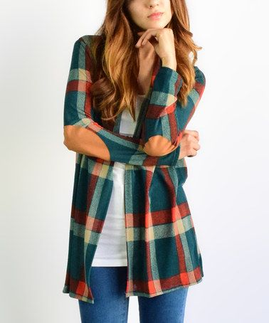 Love this Green Plaid Elbow Patch Cardigan on #zulily! #zulilyfinds