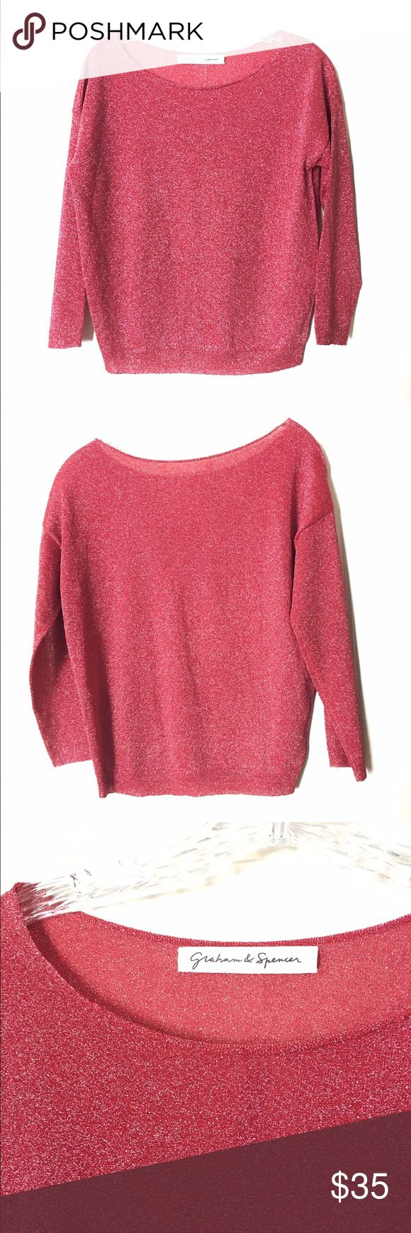 Graham & Spencer Red Metallic 3/4 Sleeve Top Sparkly metallic red top by Graham & Spencer features a crewneck and 3/4 sleeves. Size medium. The fabric content is 66% polyester and 34% metallic. Graham & Spencer Tops