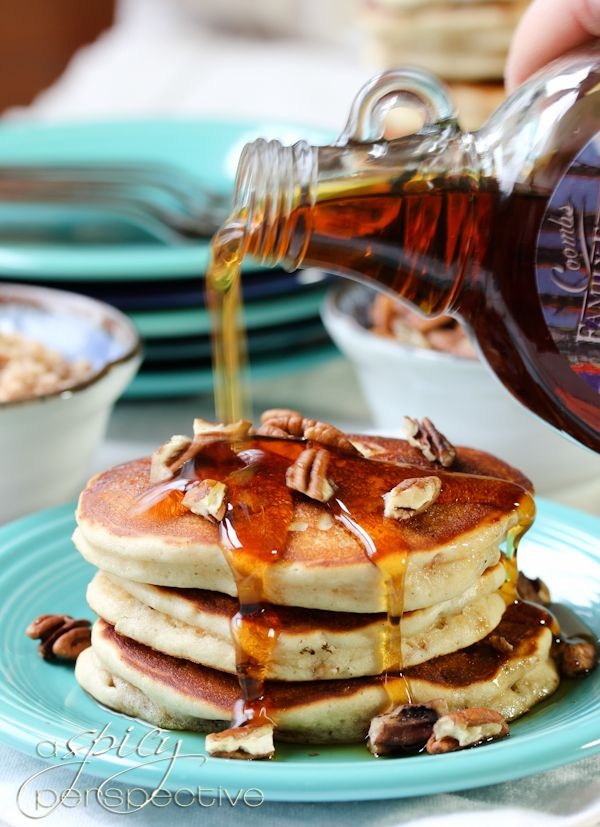 Toffee Nut Pancakes...If you have never eaten pancakes with malted milk powder, you are truly missing out. The deep, yet airy, malt flavor will warp you straight back to childhood in a moment's time. These have English toffee bits and chopped pecans, a rich buttery flavor, and a light and fluffy texture, cake-y enough to absorb as much syrup as you like, without dissolving.