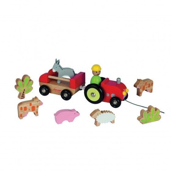 Met deze tractor zal je kindje blijven spelen! Je kan ermee rondrijden, of 'm voorttrekken met het touwtje. Compleet met aanhangwagen, vijf boerderijdieren en twee struiken. Help jij de boer...