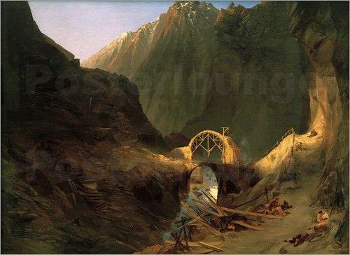 Carl Blechen - Bau der Teufelsbrücke Sankt Gotthard Strasse Schweiz