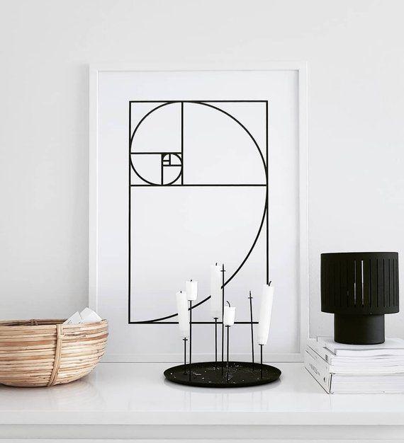 Golden Ratio Line Art Fibonacci Scandinavian Print Minimalist Print Geometric Poster Modern Wall Art Black And White Nordic Print Scandinavian Print Geometric Poster Minimalist Prints