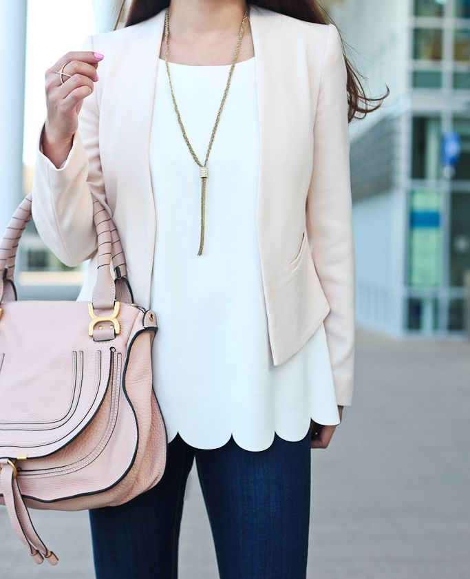 StylishPetite.com | Blush Blazer and Scallop Hem Top