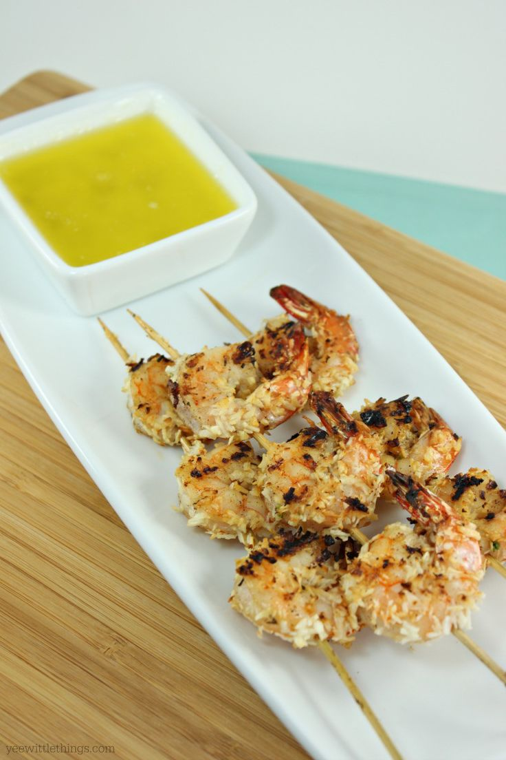 Coconut Jerk Shrimp made with #ThaiKitchen #CoconutMilk. Grilled shrimp that brings the best of Jamaican and Thai cultures together with a wonderful  blend  of  spices  and  creamy  coconut  milk  dipped  in  shredded  coconut.  Served alongside a delicious butter and lime dipping sauce. #Autumn #Appetizer #Grilled #Jamaican #Shrimp #TKeveryday