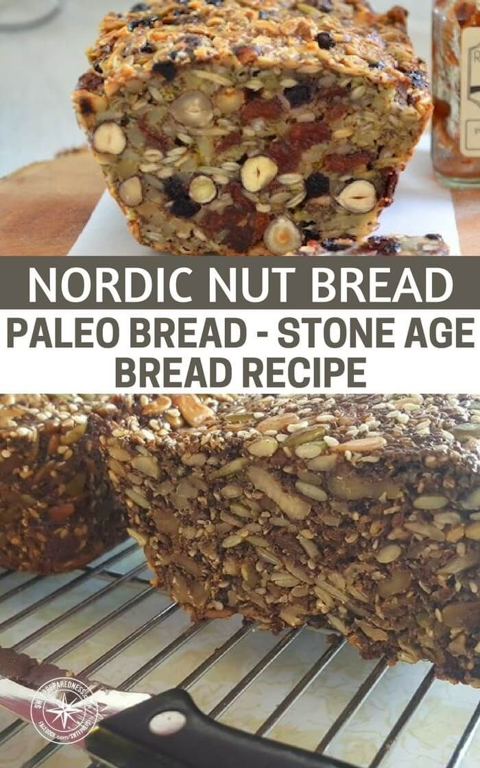"Nordic Nut Bread - Paleo Bread - Stone Age Bread Recipe - It is not very important as to what kind of nuts you use. If you are allergic or only have some nuts available, then just take 100 g extra of one of the kind you do have or can tolerate. A bread which is made entirely from nuts, grains, seeds, eggs and oil. Everybody likes it. It is particularly good for cheese, charcuterie, Pâtés, etc. But it is also good with ""ordinary"" spreads. Or as a snack if you cut it into thin slices and roast…"