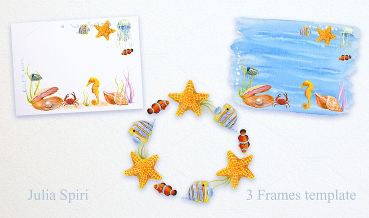 Sea Watercolor Clip Art by Julia Spiri on @creativemarket