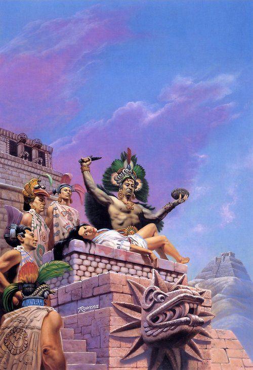 Sacrificio ritual. (Muchos de ellos se ofrecían voluntariamente para ser sacrificados en honor de los dioses)