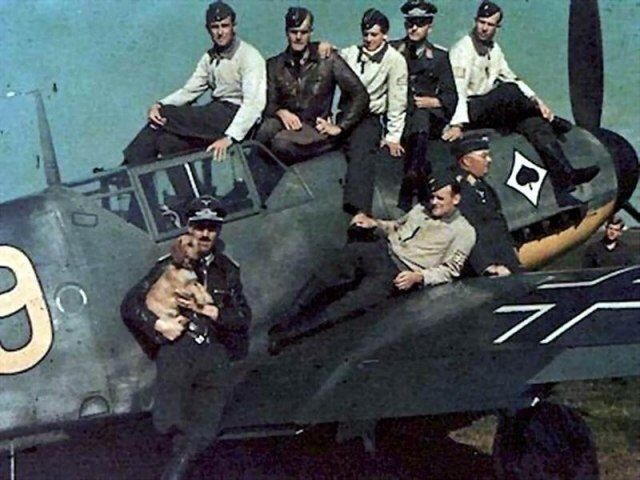 Beautiful Warbirds Adolf Galland (l) with fellow crew and pilots.