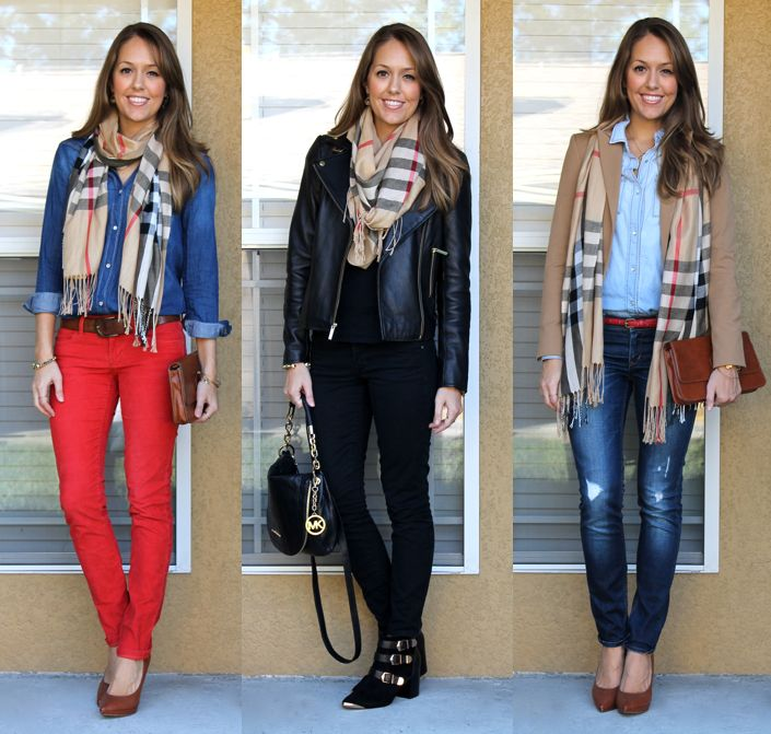 Three ways to wear a plaid scarf; perfect since I have this scarf!
