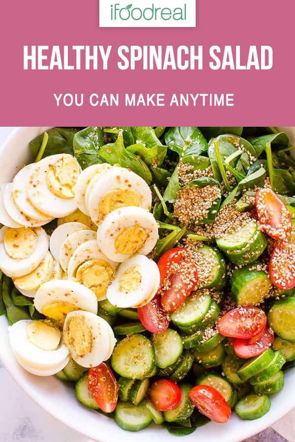 Einfaches Spinatsalatrezept mit EASY Healthy Salad Dressing, das Sie in 5 …