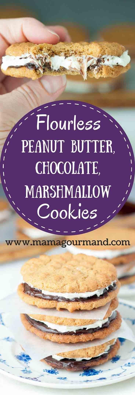 Flourless Peanut Butter Chocolate Marshmallow Sandwich cookies have a gluten free chewy peanut butter cookie with chocolate ganache and marshmallow buttercream. http://www.mamagourmand.com via @mamagourmand