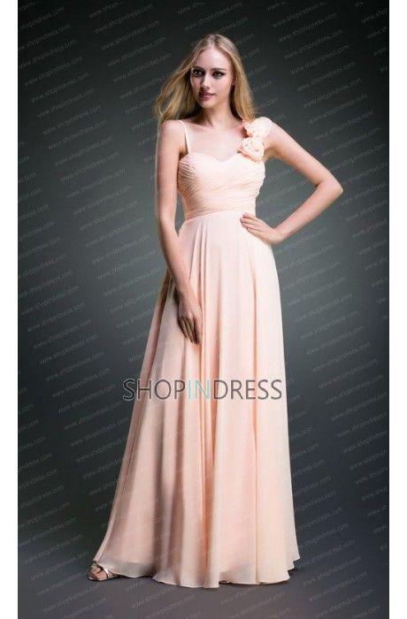 Chiffon Blush Bridesmaid Dress