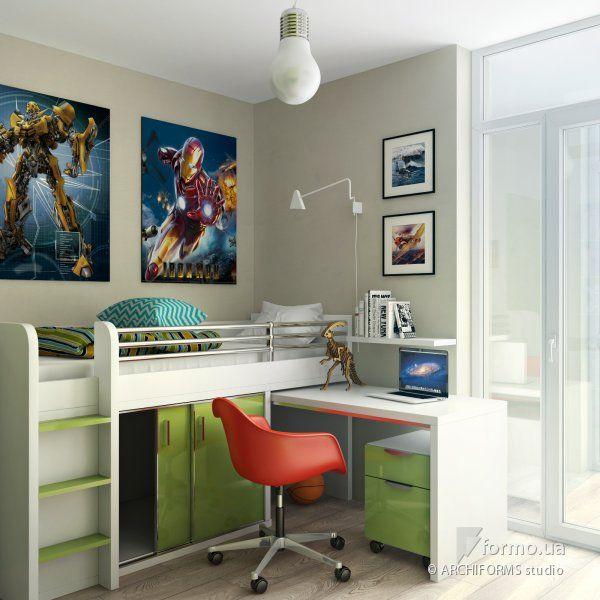 детская комната, комната для мальчика, серая комната, двухярусная кровать, марвел