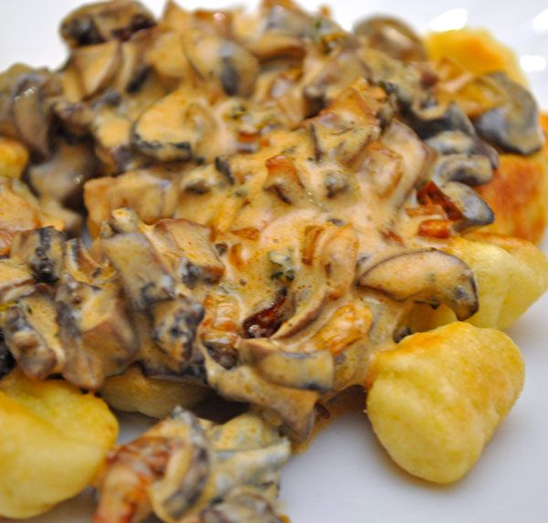 Main Course Vegetarian Dishes Part - 28: Fried Gnocchi With Creamy Mushroom Sauce