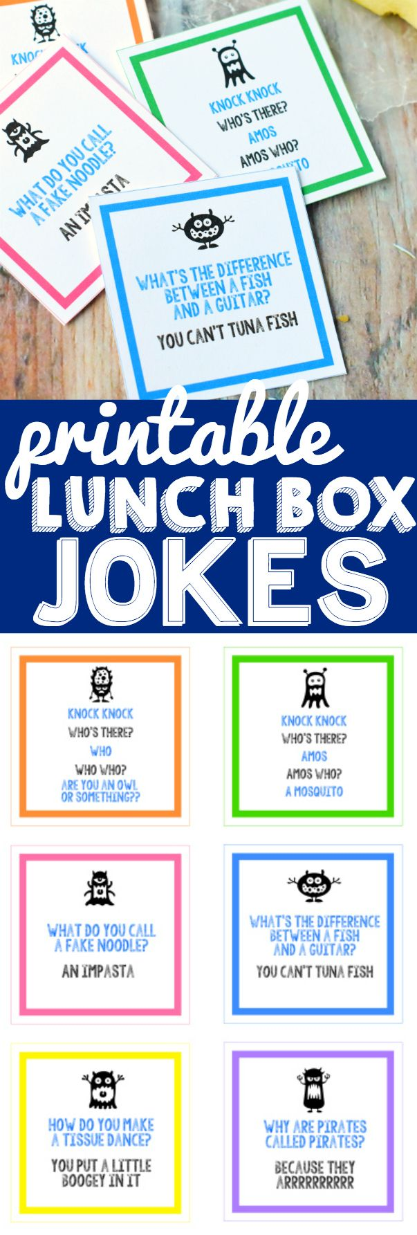 Printable Lunch Box Jokes that are perfect to send to school with your kiddo and…: