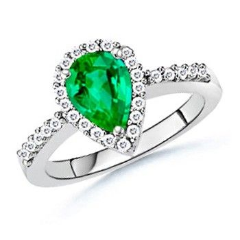 Angara Claw-Set Emerald-Cut Emerald Halo Ring in Platinum UW7Ho