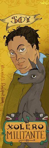 Soy xolero militante. Separador. Diego Rivera con xolo. itzcuintli.blogspot.com